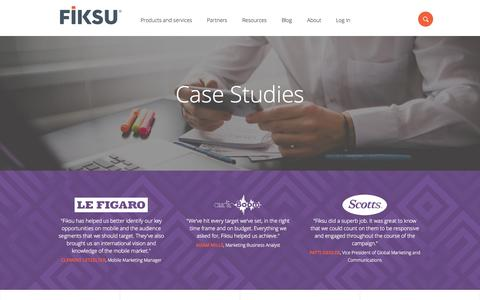 Screenshot of Case Studies Page fiksu.com - Case Studies | Fiksu - captured Nov. 18, 2015