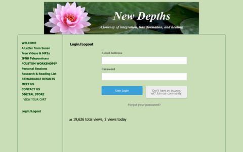 Screenshot of Login Page newdepths.org - Login/Logout « New Depths - captured Oct. 23, 2018