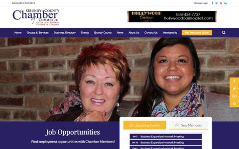 Screenshot of Jobs Page grundychamber.com - Job Search - Job Opportunities | Grundy County Chamber of Commerce - captured Sept. 23, 2017