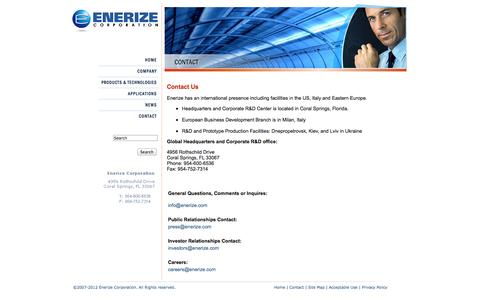 Screenshot of Contact Page enerize.com - Enerize Corporation - captured Oct. 2, 2014