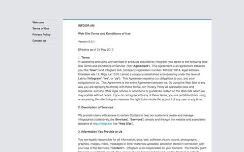 Screenshot of Terms Page infogr.am captured Sept. 16, 2014