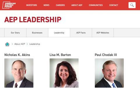 Screenshot of Team Page aep.com - AEP Leadership - captured Nov. 18, 2018