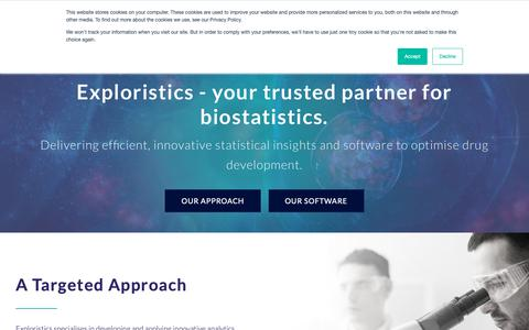 Screenshot of Home Page exploristics.com - Home - Exploristics - captured Sept. 29, 2018