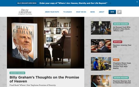 Screenshot of Home Page billygraham.org - BGEA - captured Oct. 1, 2015