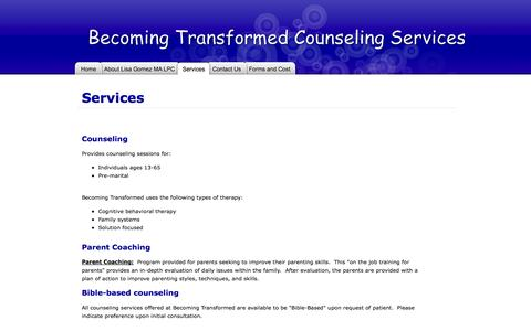 Screenshot of Services Page snappages.com - Becoming Transformed - Services - captured Sept. 18, 2014