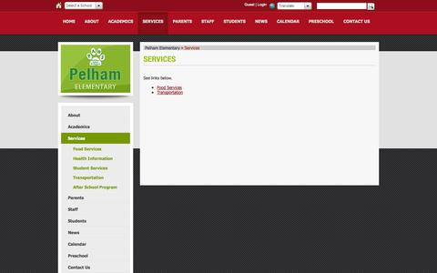 Screenshot of Services Page arps.org - Services - Pelham Elementary - captured Oct. 2, 2014