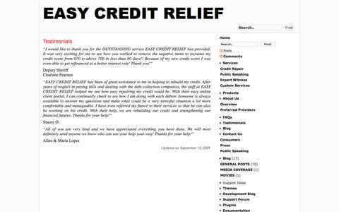 Screenshot of Testimonials Page easycreditrelief.com - Testimonials | Easy Credit Relief - captured Oct. 20, 2016