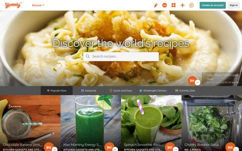 Screenshot of Home Page yummly.com - The Best Site For Recipes, Recommendations, Food And Cooking   Yummly - captured Dec. 2, 2015
