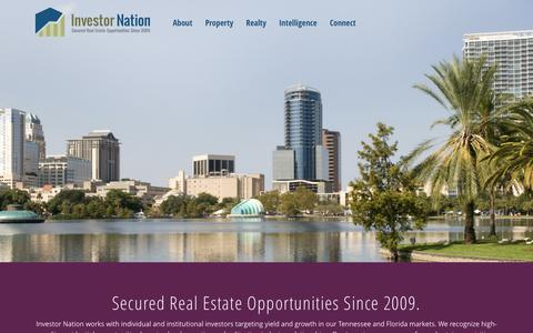 Screenshot of Home Page investornation.com - Secured Real Estate Opportunities - captured Sept. 30, 2014