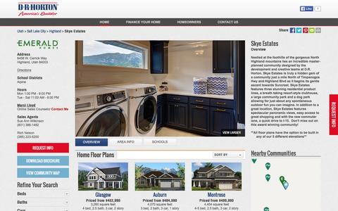 Screenshot of drhorton.com - New Homes in Skye Estates | Highland, Utah | D.R. Horton - captured March 19, 2016