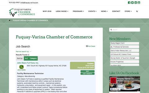 Screenshot of Jobs Page fuquay-varina.com - Job Search - Fuquay-Varina Chamber of Commerce - captured Nov. 25, 2016