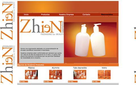 Screenshot of Home Page zhiencosmetics.com - Bienvenidos a Zhien Cosmetics - captured Sept. 30, 2014