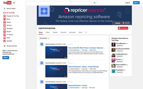Screenshot of YouTube Page youtube.com - repricerexpress  - YouTube - captured Oct. 26, 2014