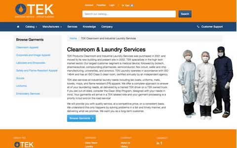 Screenshot of Services Page tekproducts.com - TEK Cleanroom and Industrial Laundry Services - TEK Products - captured Oct. 26, 2014