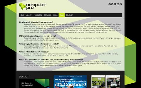 Screenshot of FAQ Page computerpro1.com - Faqs about our computer services - Computer Pro - captured Oct. 2, 2014