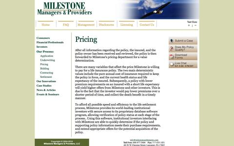 Screenshot of Pricing Page milestonesettlements.com - Life Settlement Pricing Process - Life Settlements | MILESTONE | Life Settlement Provider for Consumers, Insurance Agents, Brokers, Investors - captured Dec. 20, 2016
