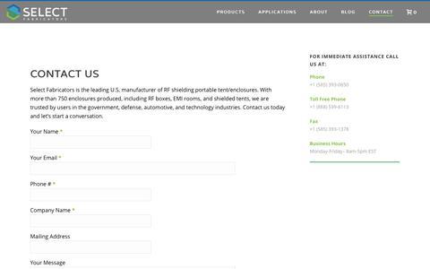 Screenshot of Contact Page select-fabricators.com - RF Shielding Portable Tent: Contact | Select Fabricators - captured Dec. 7, 2019