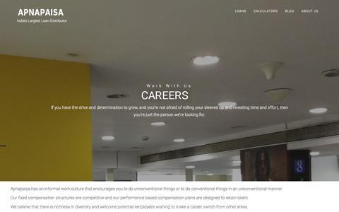 Screenshot of Jobs Page apnapaisa.com - Careers � APNAPAISA - captured Jan. 19, 2016