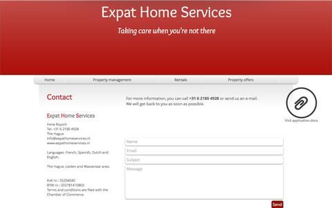 Screenshot of Contact Page expathomeservices.nl - Contact Expat Home Services - captured May 23, 2017