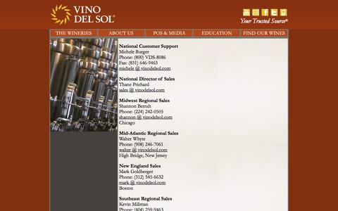 """Screenshot of Contact Page vinodelsol.com - Vino Del Sol 