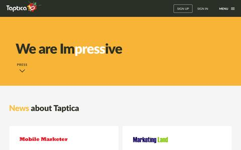 Screenshot of Press Page taptica.com - Press | Taptica - captured Nov. 17, 2015