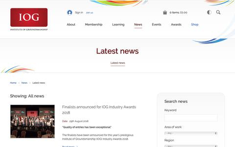 Screenshot of Press Page iog.org - Latest news | Institute of Groundsmanship - captured Oct. 12, 2018