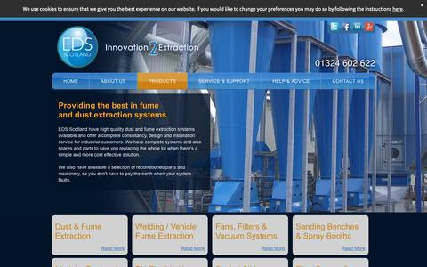 Screenshot of Products Page edsscotland.co.uk - Design & Installation Of Products For Dust & Fume Extraction - captured Sept. 28, 2018