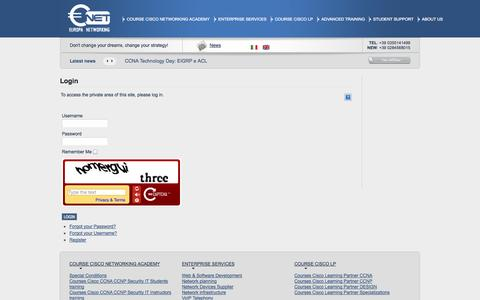 Screenshot of Login Page europanetworking.net - Corsi di Certificazione Cisco :: Europa Networking :: CCNA :: CCNP :: CCIE :: VoIP :: Security :: Nexus :: Telephony :: Advanced Training   Login - captured Sept. 30, 2014