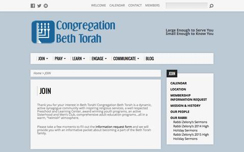 Screenshot of Signup Page congregationbethtorah.org - JOIN - Congregation Beth Torah - captured Dec. 10, 2015