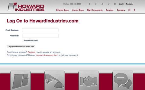 Screenshot of Login Page howardindustries.com - Login | Howard Industries - captured Dec. 13, 2015