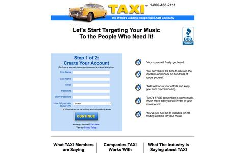 Screenshot of Signup Page taxi.com - TAXI - captured Jan. 20, 2016
