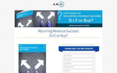 Screenshot of Landing Page ariasystems.com - Recurring Revenue Success: D.I.Y. or Buy?   Aria Systems - captured July 23, 2017