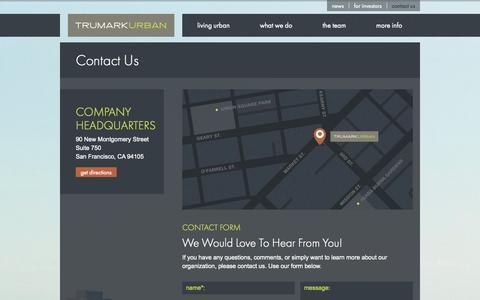 Screenshot of Contact Page trumarkurban.com captured Oct. 9, 2014