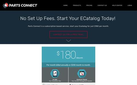 Screenshot of Pricing Page partsconnect.io - Auto Parts E-Catalog Pricing   e parts catalogue — Parts Connect Catalog   Vehicle Part Number Finder - captured July 16, 2018