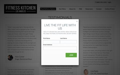 Screenshot of Testimonials Page fitnesskitchenla.com - Testimonials From Happy Healthy Clients - Fitness Kitchen LA - captured Nov. 25, 2016