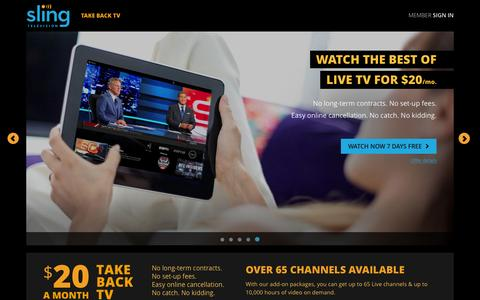 Screenshot of Home Page sling.com - Sling TV - Watch Live TV Programming Any Time and Anywhere - captured Feb. 22, 2016