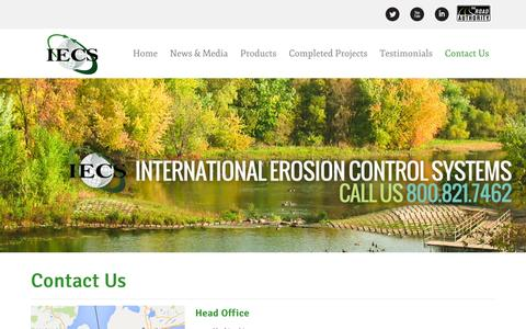 Screenshot of Contact Page iecs.com - International Erosion Control Systems  Č Contact Us - captured Jan. 9, 2016