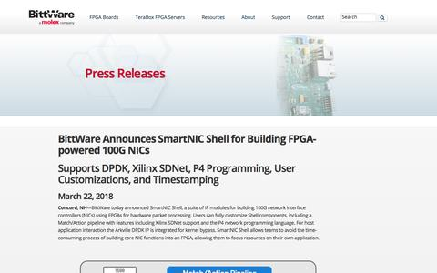 Screenshot of Press Page bittware.com - Press Releases - BittWare FPGA Acceleration - captured Nov. 7, 2019