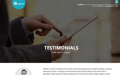 Screenshot of Testimonials Page baltech.in - Web and Mobile Application Development, India | Baltech - captured Dec. 29, 2015