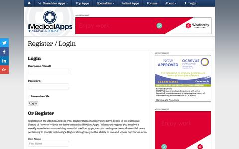 Screenshot of Login Page imedicalapps.com - Register for free and Login to iMedicalApps - captured June 30, 2017
