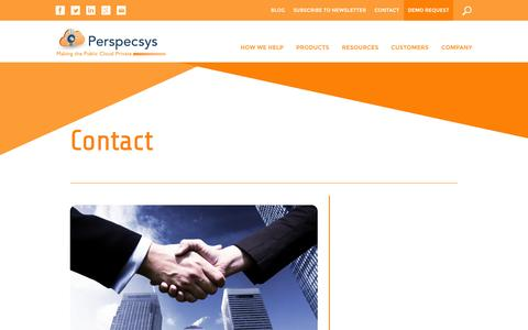 Screenshot of Contact Page perspecsys.com - Contact for Cloud Security - Enterprise Cloud Solutions - captured Oct. 22, 2014