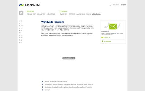 Screenshot of Locations Page logwin-logistics.com - Logwin Logistics | Locations | International Logistics & Transports - captured Jan. 23, 2016