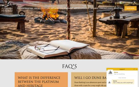 Screenshot of FAQ Page platinum-heritage.com - Frequently Asked Questions - captured July 14, 2016
