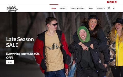 Screenshot of Home Page virtika.com - Virtika Outerwear - captured Feb. 5, 2016