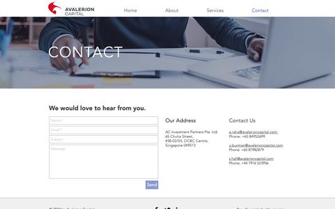 Screenshot of Contact Page avalerioncapital.com - mysite | Contact - captured Dec. 18, 2018
