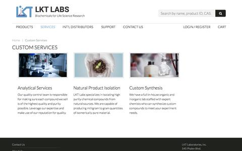 Screenshot of Services Page lktlabs.com - Custom Services - LKT Labs - Biochemicals for Life Science Research - captured Oct. 12, 2016