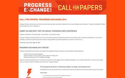 Screenshot of Landing Page progress.com - Progress Exchange 2014 - Call For Papers - captured Sept. 24, 2016