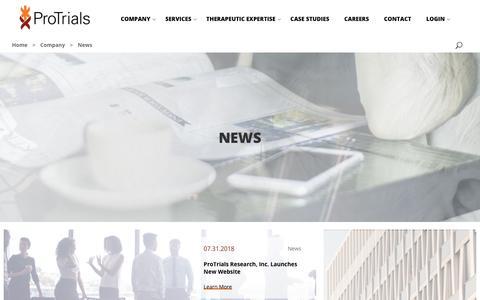 Screenshot of Press Page protrials.com - News - Protrials - captured Sept. 29, 2018