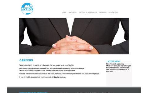 Screenshot of Jobs Page avitargroup.com - CAREERS - captured Oct. 4, 2014