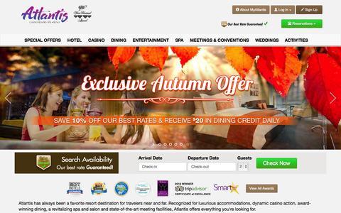 Screenshot of Home Page atlantiscasino.com - Atlantis Casino Resort Spa Reno - Hotels, Dining, Spa, Entertainment - captured Nov. 20, 2015